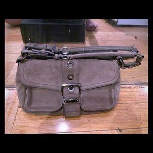 Prada suede  buckle shoulder bag